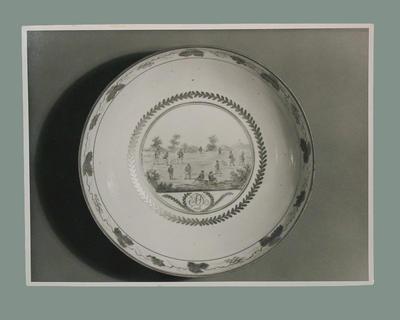 Photograph of a ceramic bowl, cricket design