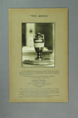 Photograph of the Ashes urn with explanatory text, c1930