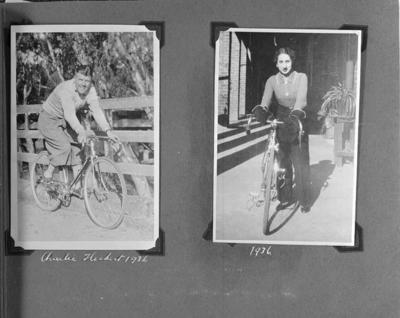 Copy negative of a page from a photo album featuring various cyclists, c1930s; Photography; 1988.2003.40