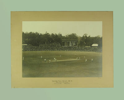 Photograph  of the MCG - Second Test Match 1911/12, Armstrong bowling,  Rhodes batting