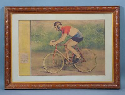 Print depicting Hubert Opperman on a bicycle, c1930s