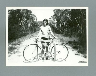 Copy photograph - Enid  Brock (nee Bissett) Queensland Ladies Amateur Cycling Champion 1940
