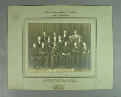 Photograph of Victorian Amateur Cycling Representatives, Australian Championships 1923