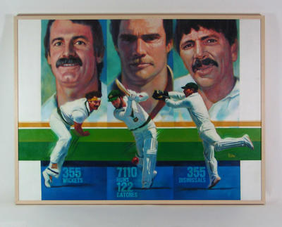 Oil painting of Dennis Lillee, Greg Chappell & Rod Marsh; Artwork; M8817