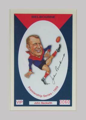 Melbourne FC 1959 Premiership commemorative trade card, John Beckwith