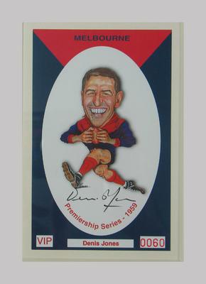 Melbourne FC 1959 Premiership commemorative trade card, Denis Jones