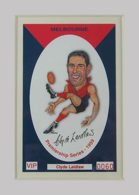 Melbourne FC 1959 Premiership commemorative trade card, Clyde Laidlaw