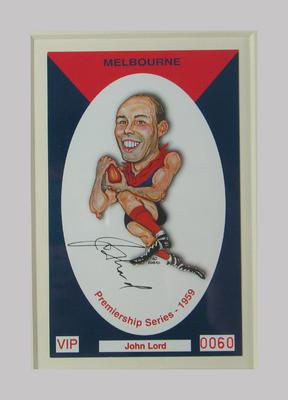 Melbourne FC 1959 Premiership commemorative trade card, John Lord