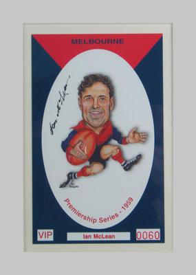 Melbourne FC 1959 Premiership commemorative trade card, Ian McLean