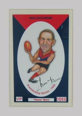 Melbourne FC 1959 Premiership commemorative trade card, Hassa Mann