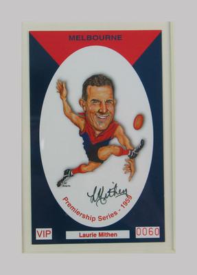 Melbourne FC 1959 Premiership commemorative trade card, Laurie Mithen