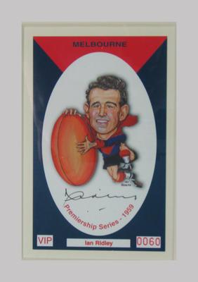 Melbourne FC 1959 Premiership commemorative trade card, Ian Ridley