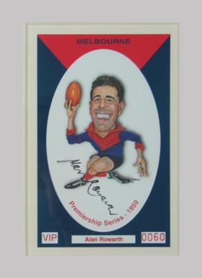 Melbourne FC 1959 Premiership commemorative trade card, Alan Rowarth