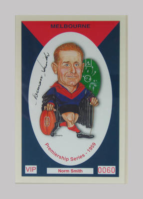 Melbourne FC 1959 Premiership commemorative trade card, Norm Smith