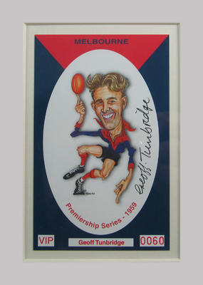 Melbourne FC 1959 Premiership commemorative trade card, Geoff Tunbridge