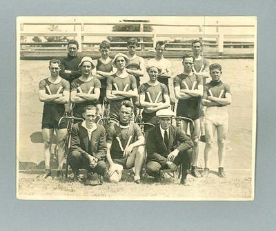 Photograph of cycling team, c1923
