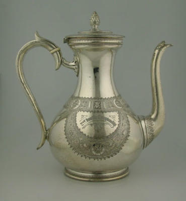 Silver coffee pot presented to runners up of 1896 MCC Tennis Doubles Championship, won by ET Barnard