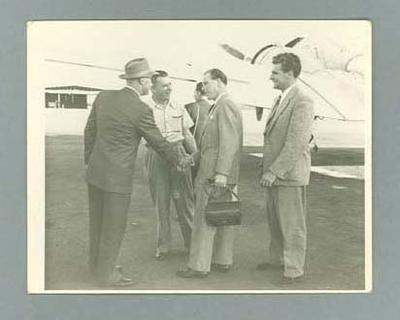 """Photograph - """" Laurie Jones introducing Keith Macdonald to Reg Harris and Sid Paterson, Bundaberg 10 March 1954"""""""