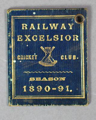 Railway Excelsior Cricket Club membership ticket, season 1890-91