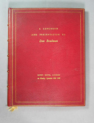 Book commemorating a luncheon and presentation to Don Bradman, 20 September 1948