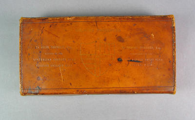 Brown leather box, previously containing cricket colours, presented to Hugh Trumble as part of Australian team tour to England 1893