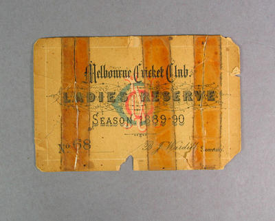 Melbourne Cricket Club Ladies Reserve ticket, season 1889-90