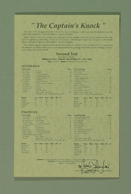 Scorecard for Australia v Pakistan Test match at Bellerive Oval, 17-20 Nov 1995; Documents and books; M8709.2