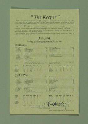 Scorecard for Australia v West Indies at Brisbane, 22-26 November 1996; Documents and books; M8710.2