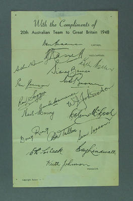Autograph sheet of 1948 Australian cricket team