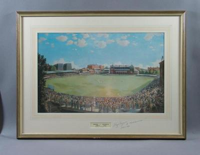 Colour print of oil painting, depicting England v Australia Test match at Lord's, 1938
