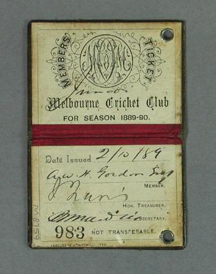Melbourne Cricket Club member's ticket, season 1889-90
