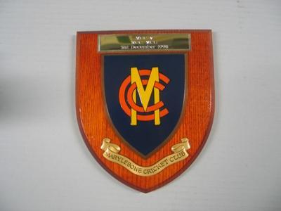 Plaque commemorating cricket match between Melbourne Cricket Club & Marylebone Cricket Club, 31 December 1998