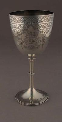 Melbourne Cricket Club Hull Trophy for best bowling average in season 1880-81, awarded to JD Edwards