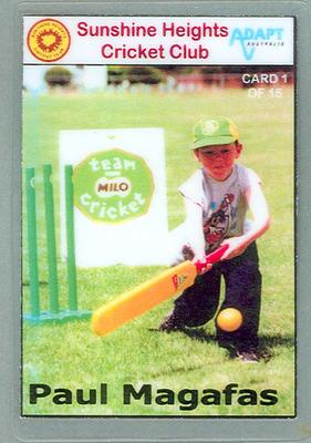 Trade card produced by Sunshine Heights Cricket Club, 1998; Documents and books; M8776.1