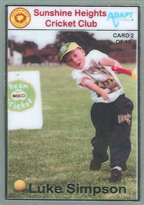 Trade card produced by Sunshine Heights Cricket Club, 1998; Documents and books; M8776.2