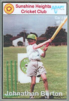Trade card produced by Sunshine Heights Cricket Club, 1998; Documents and books; M8776.6