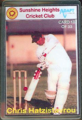 Trade card produced by Sunshine Heights Cricket Club, 1998