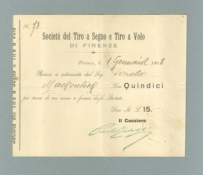 Receipt issued to Donald Mackintosh, 1 Jan 1908