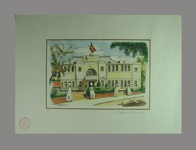 Coloured print, depicting Kowloon Cricket Club