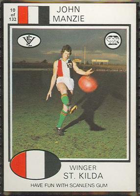 1975 Scanlens VFL Football John Manzie trade card; Documents and books; 1994.3042.215