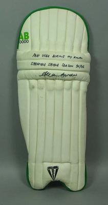 Batting pads used by Allan Border during 1994-95 Sheffield Shield season; Sporting equipment; M8793