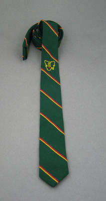 Tie, green with image of Tasmania, wickets and cricket ball; Clothing or accessories; M8880