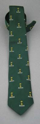 Tie, dark green with repeated motif of gold umbrella and cricket stumps