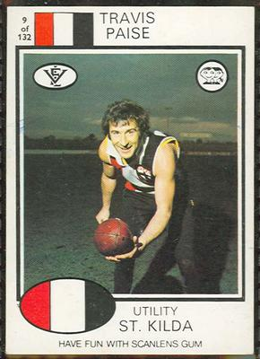 1975 Scanlens VFL Football Travis Paise trade card
