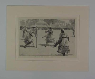 """Print, """"THE ENGLISH LADY CRICKETERS: MISS STANLEY BATTING"""" - 1890"""