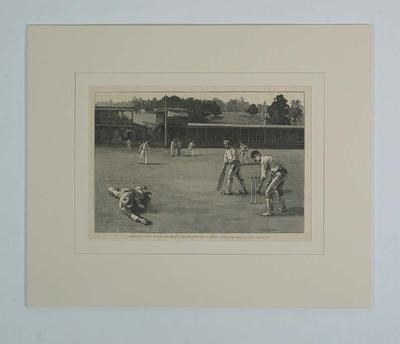 """Print, """"INTERNATIONAL CRICKET MATCH ON THE GROUND OF THE GERMANTOWN CLUB"""""""