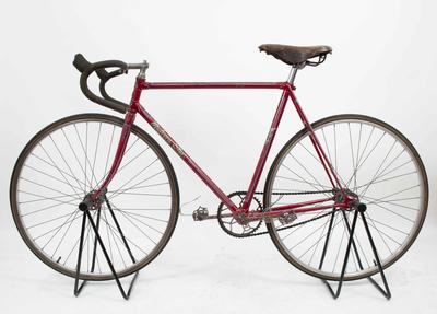 Red bicycle ridden by Hubert Opperman during twenty-four hour unpaced track record in Sydney, Jan 1940