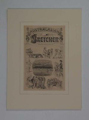 """Print, """"Sketches at the match All England v Victoria"""" - 1881"""