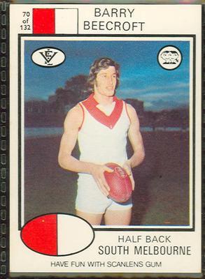 1975 Scanlens VFL Football Barry Beecroft trade card