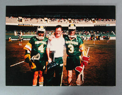Photograph of MCC Lacrosse players competing at 1990 Lacrosse World Series
